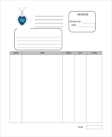 sample jewelry invoice form