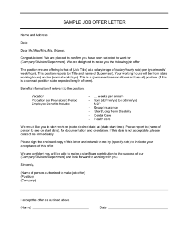 Job Offer Letter Samples - 8+ Free Documents In Word, Pdf