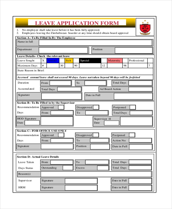 7 Sample Leave Application Forms Sample Example Format – Leave Application Form for Office