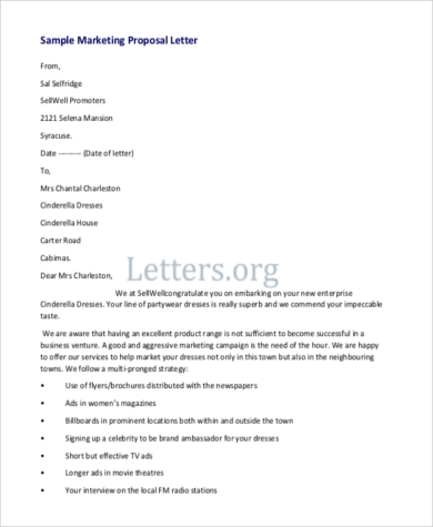 Marketing Proposal Letter Proposal Letter Sample For Services