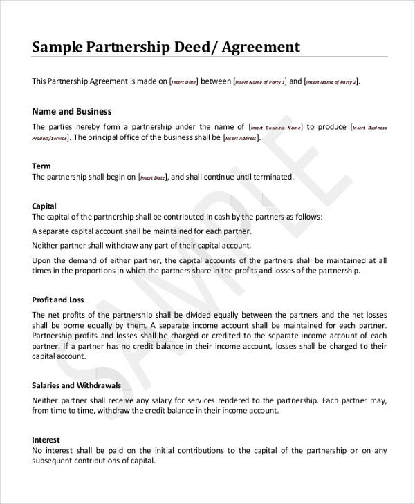 sample partnership deed agreement