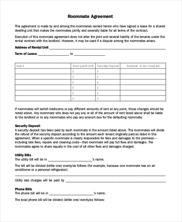 Roommate Agreement Form 8 Free Templates In Pdf Word Doc 600776