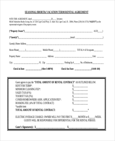 Rental Agreement Sample Form   Free Documents In Doc Pdf