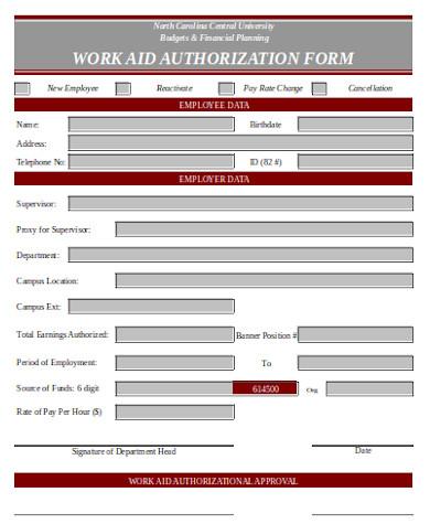 sample work aid authorization form