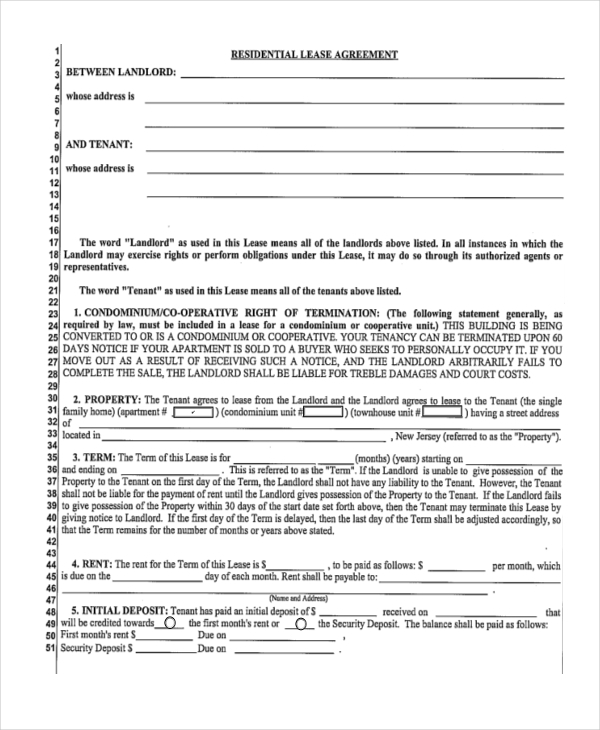 sample residential agreement lease form