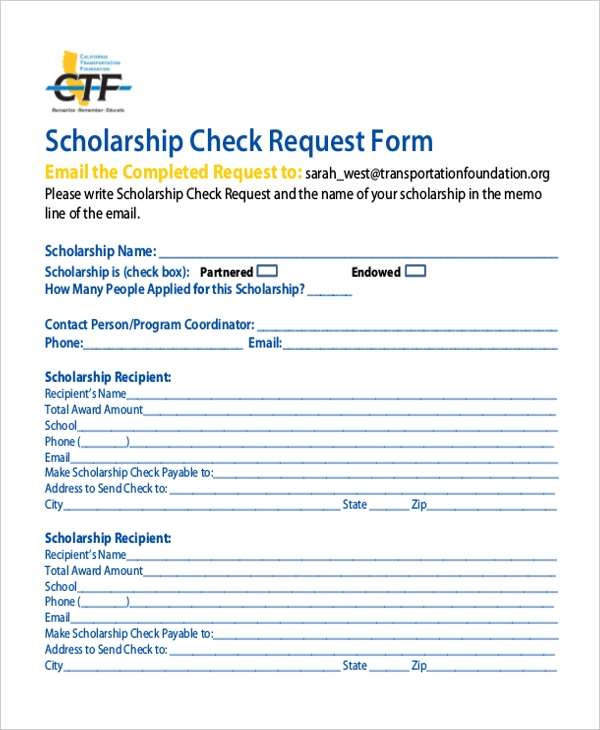 scholarship check request form