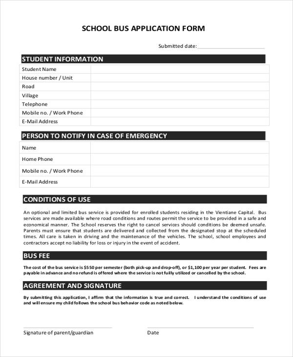 school bus application form