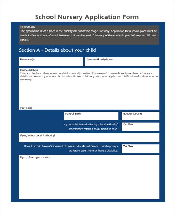 school nursery application form