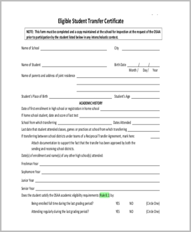 Sample School Transfer Forms   Free Documents In Word Pdf