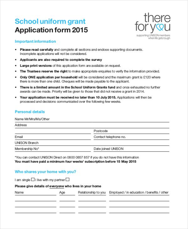 school uniform grant application form