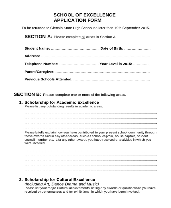 9 sample school application forms - Sample Application Forms