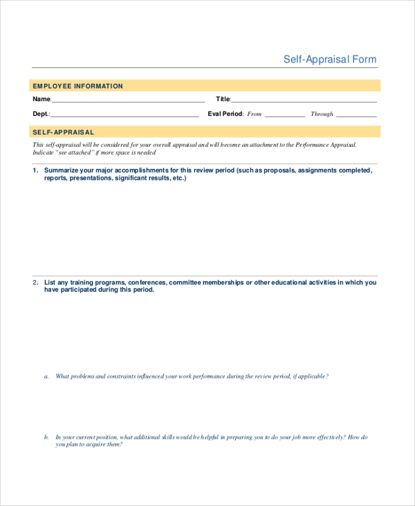 self appraisal form