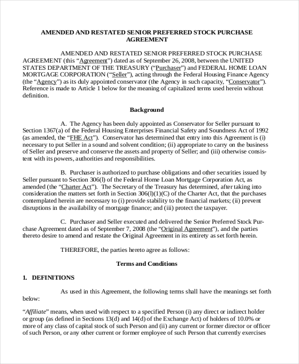 Sample Purchase Agreement Form 7 Free Documents in PDF – Stock Purchase Agreement Template