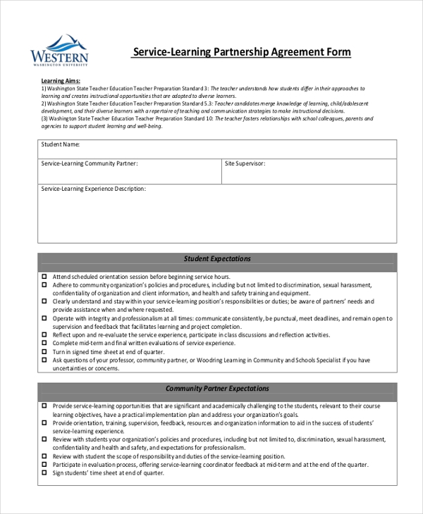 Doc460595 Partnership Agreement Form Partnership Agreement – Sample Partnership Agreement Form