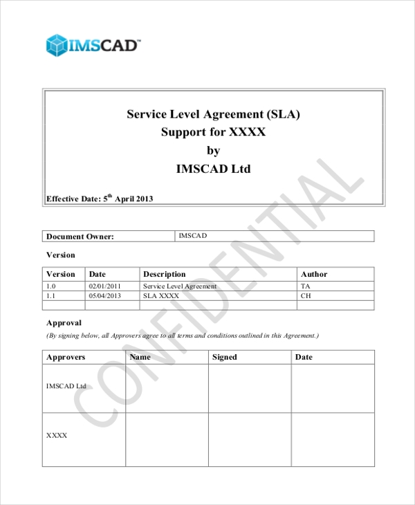 service level agreement for support