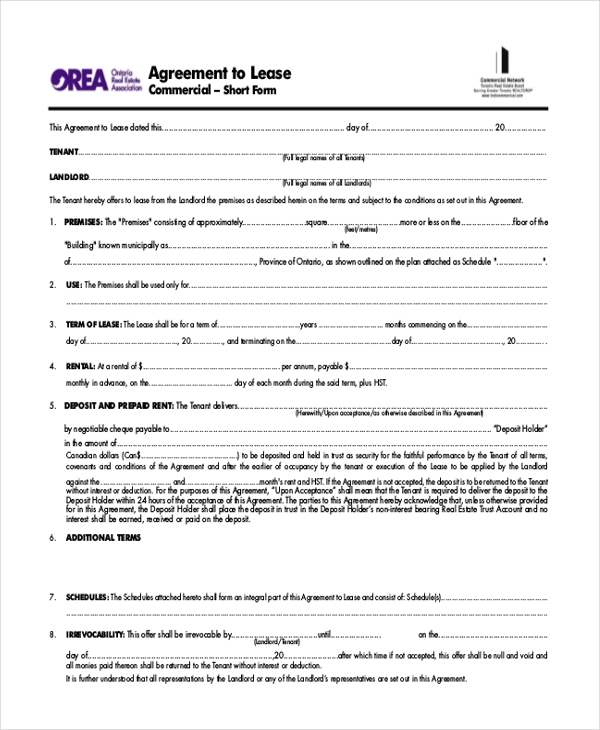 Commercial Property Lease Agreementsample Lease Agreement Form