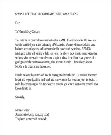 Sample Recommendation Letter For A Friend   Free Documents