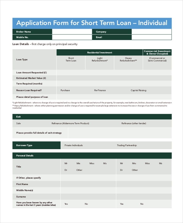 short term loan application form