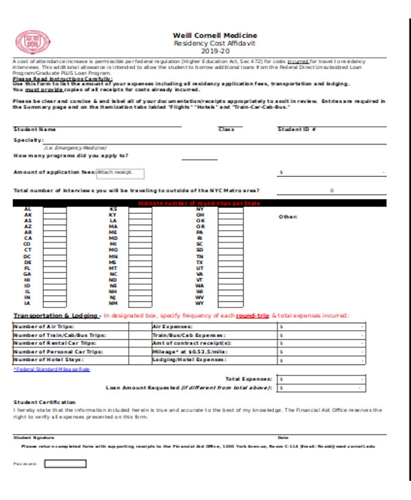 simple affidavit of residency form