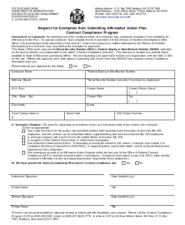 simple affirmative action form
