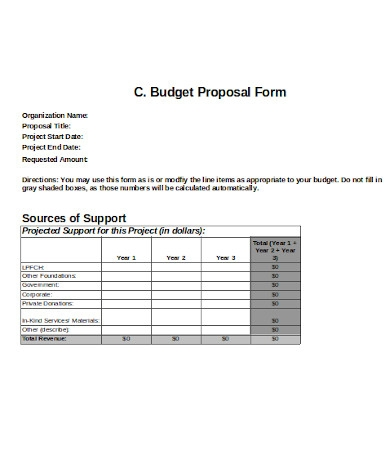simple budget proposal form