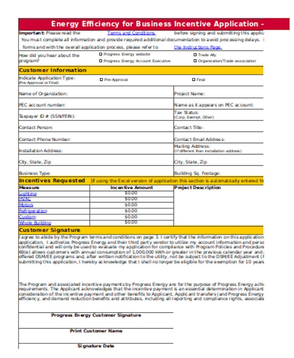 simple business application form