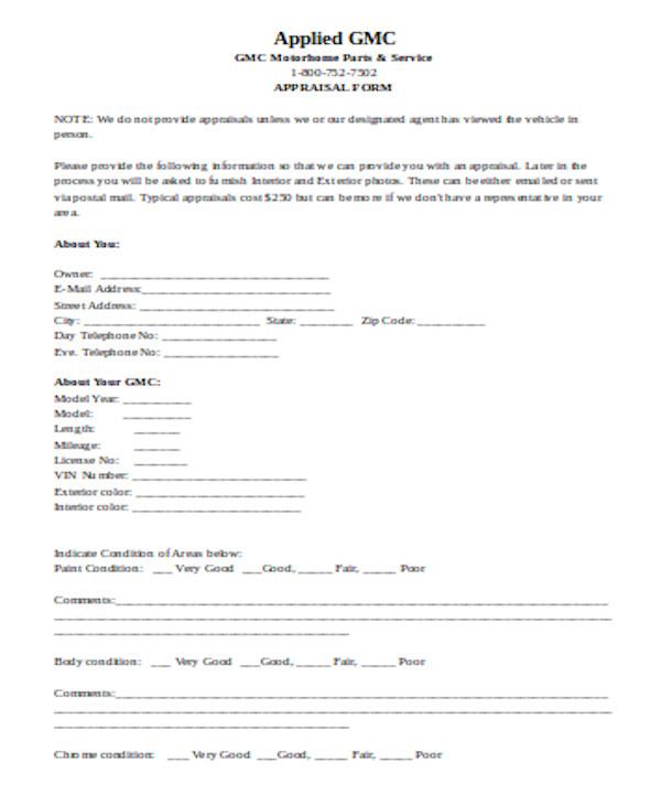 simple car appraisal form