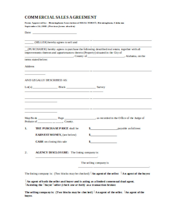 simple commercial sales contract