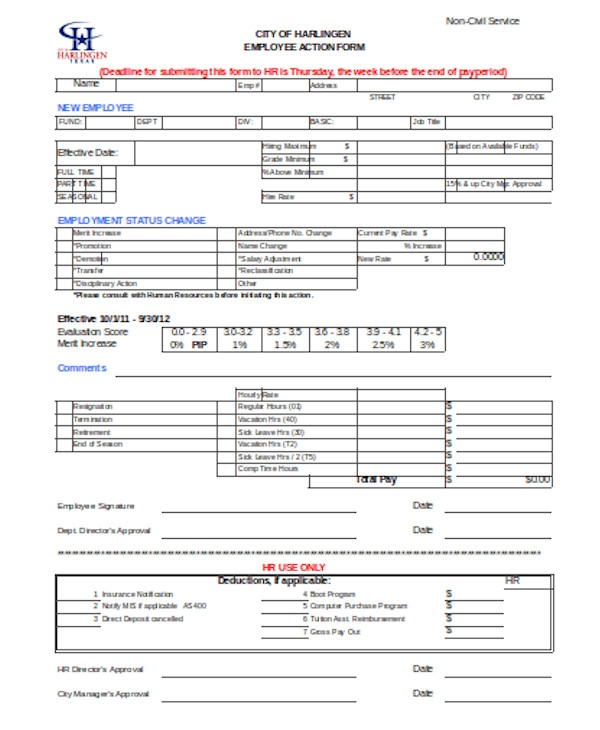 simple employee action form