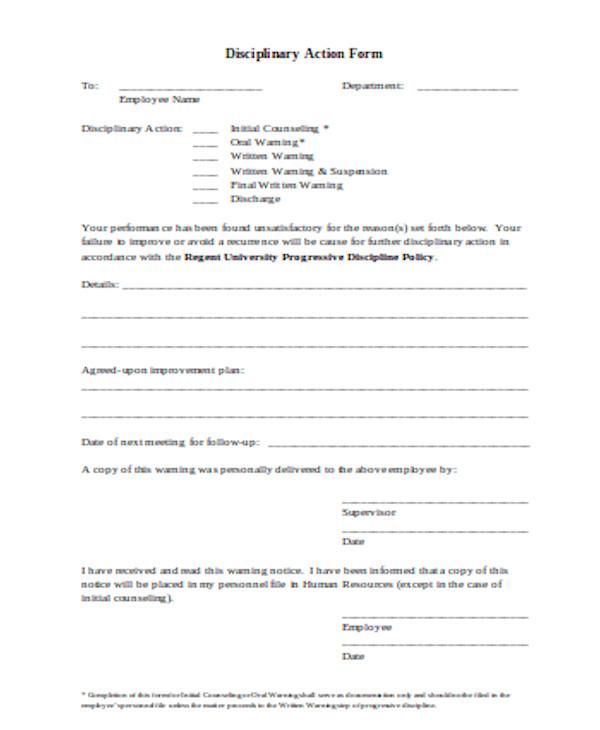 simple employee discipline form