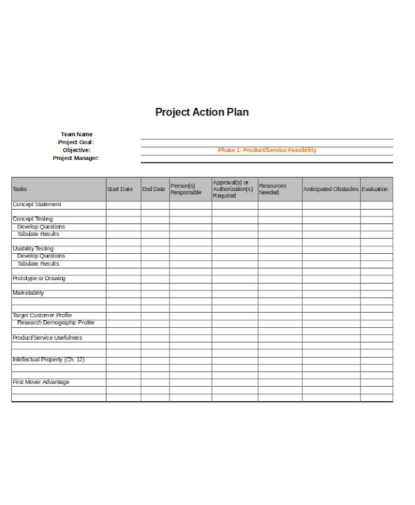 simple project action plan form