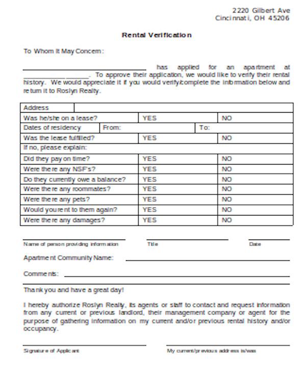 simple rental verification form