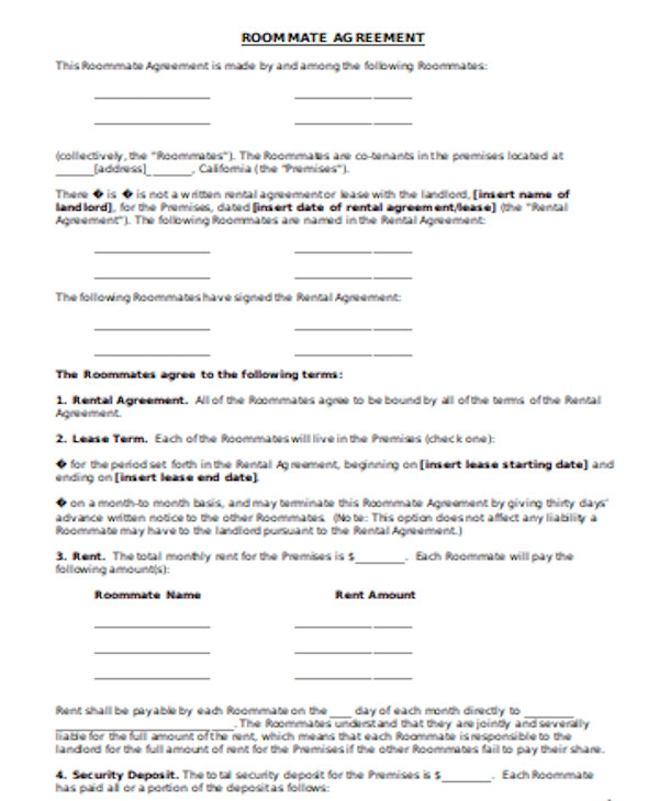 Room Agreement Form Samples In Pdf