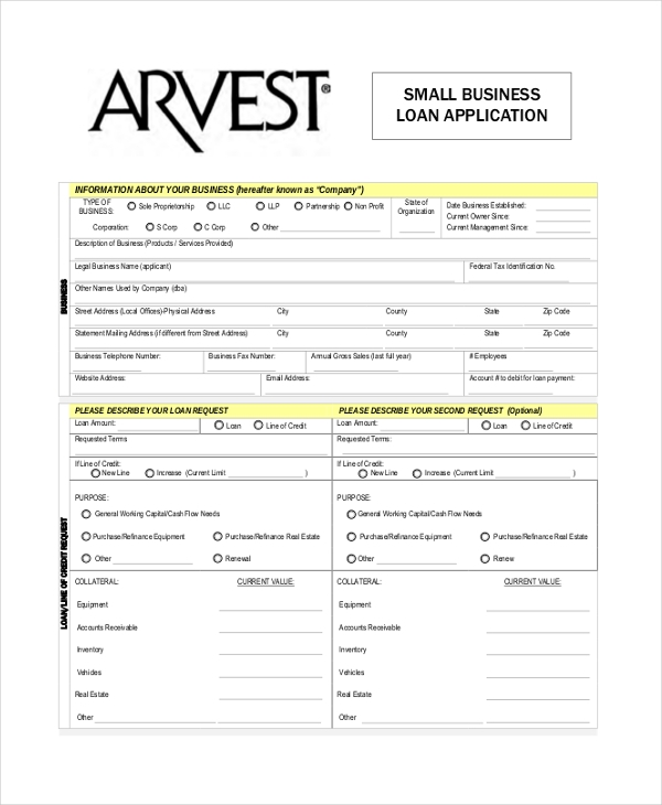 9 sample loan application forms sample example format small business loan application form accmission Images