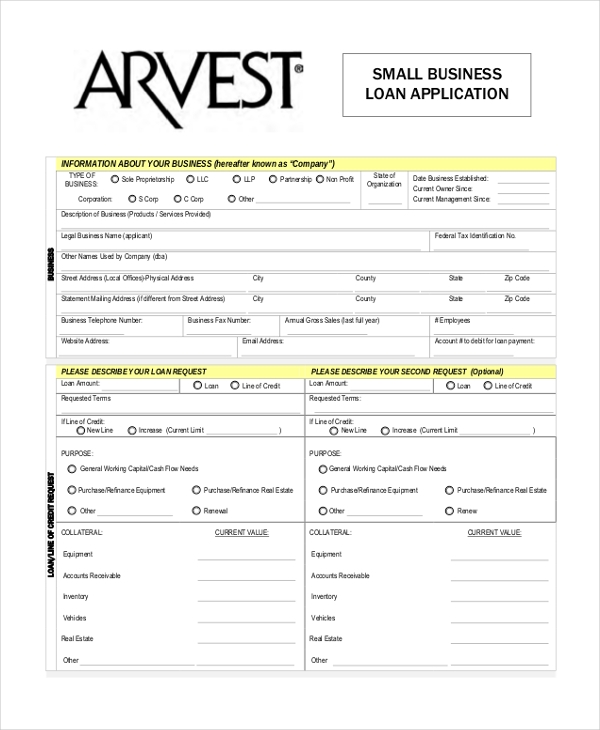 Sample business application form 9 free documents in pdf free small business loan application form wajeb Image collections