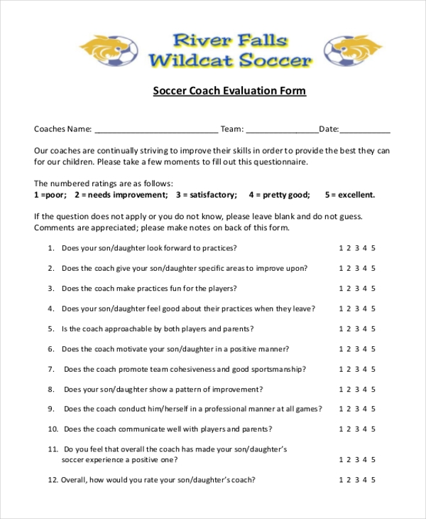 soccer coach evaluation form