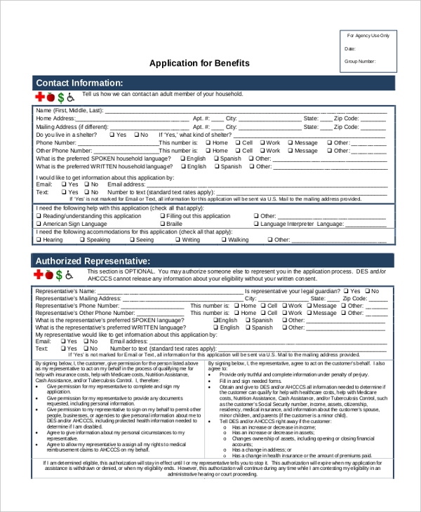 Sample Social Security Application Forms  Free Sample Example