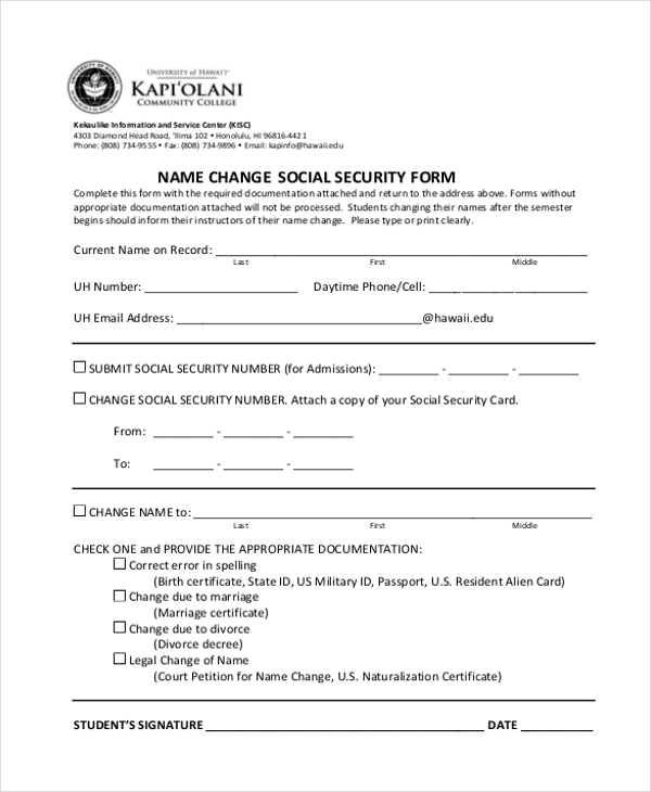 Sample Social Security Form   Free Documents In Pdf
