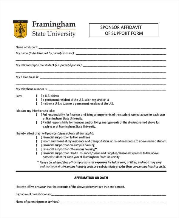sponsor affidavit of support form