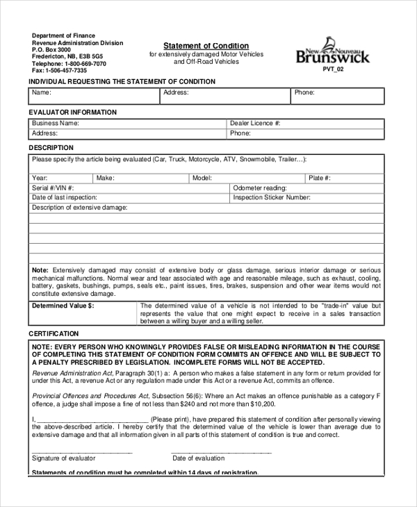 sport vehicle appraisal record form