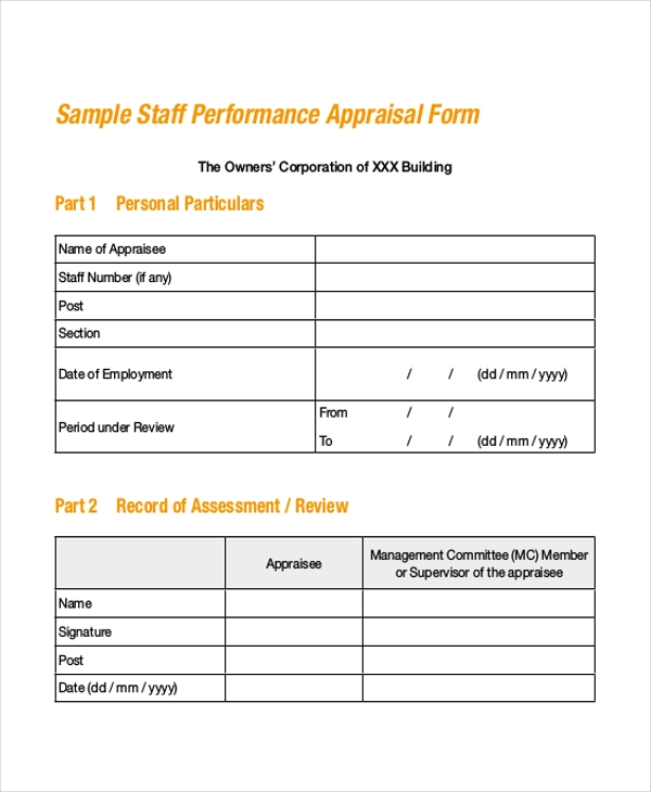 9 Sample Staff Appraisal Forms Free Sample ExampleFormat – Performance Appraisal Form Format