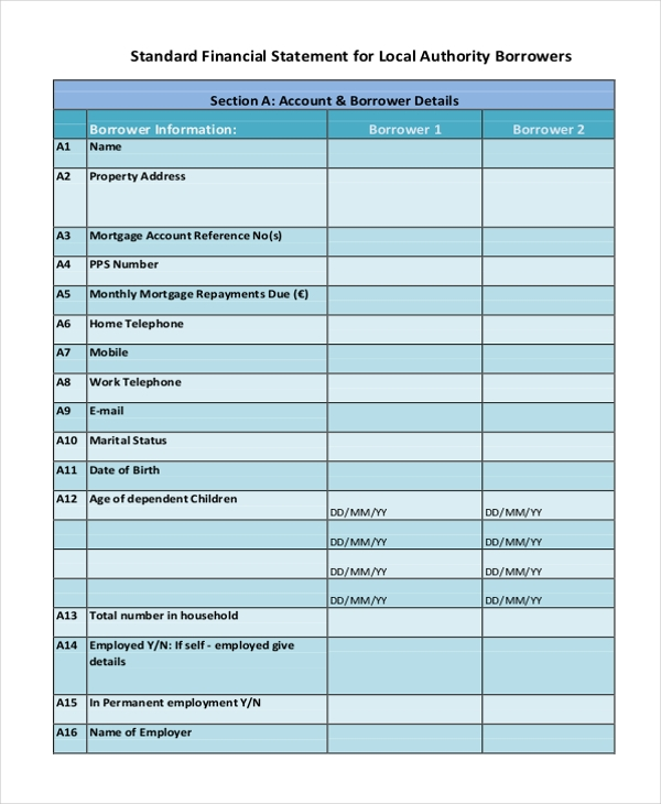 standard financial statement form