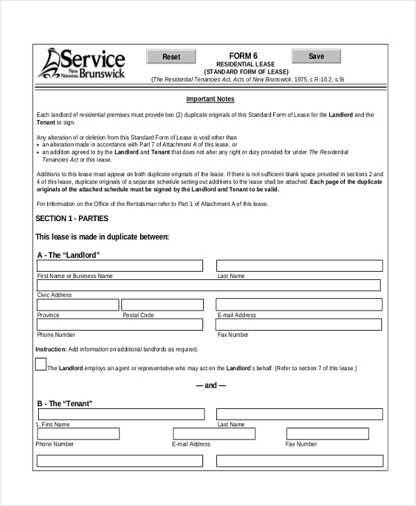 standard house lease agreement