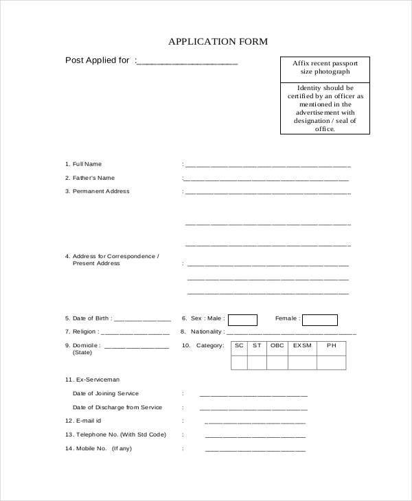 Sample Printable Job Application Form   Free Documents In Pdf