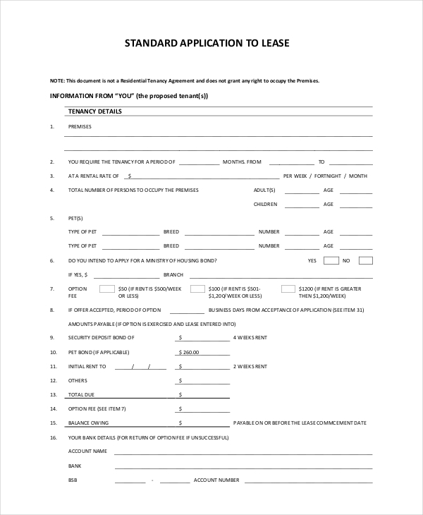 standard lease application form