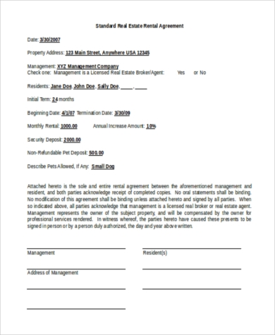 Sample Standard Rental Agreement Form - 8+ Free Documents In Doc, Pdf