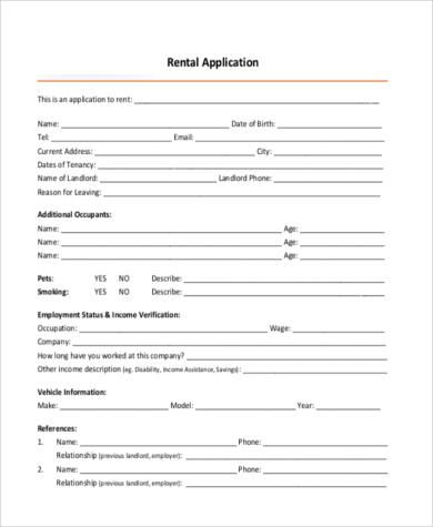 standard rental application form