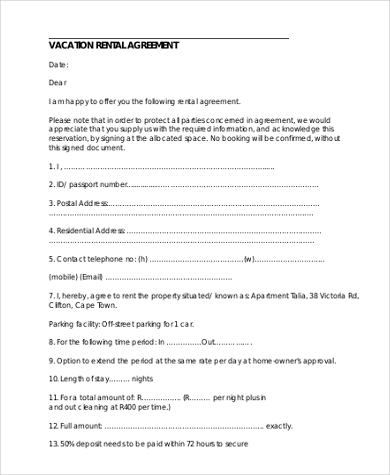 Sample Standard Rental Agreement Form   Free Documents In Doc Pdf