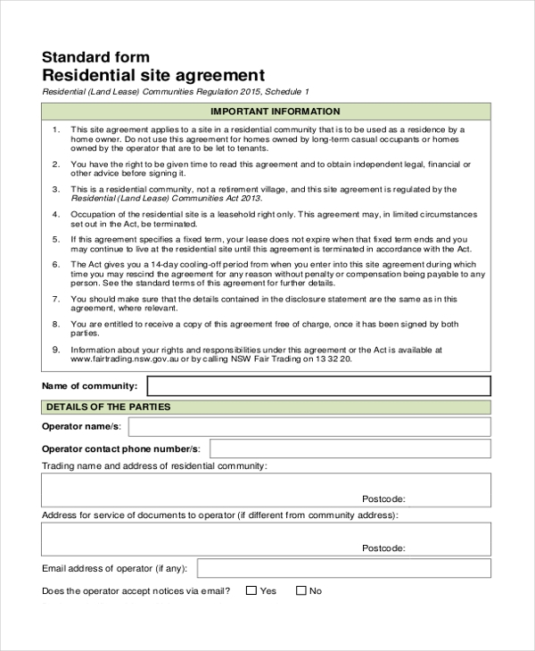 Sample Land Agreement Form   Free Documents In Pdf