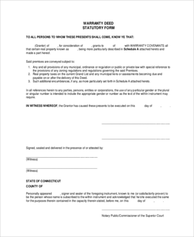 statutory waranty deed form
